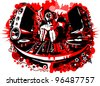 dj at work in black and red design. raster - stock photo