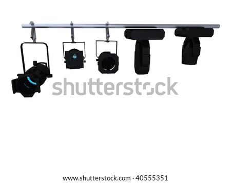 Dj / disco lighting rig with flashing lights isolated on white - stock photo