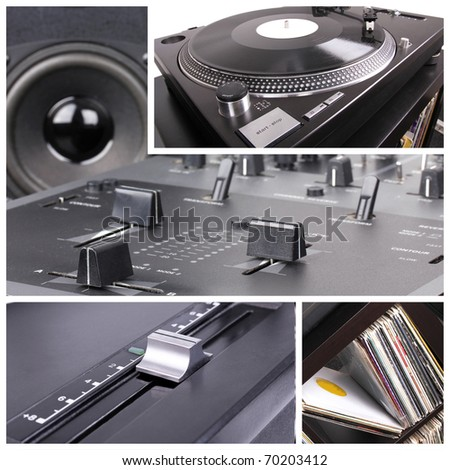 Dj equipment collage, closeup parts