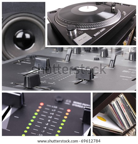 Dj equipment collage. Turntable and mixer parts - stock photo