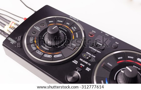 dj equipment on white background.  - stock photo