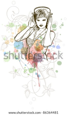 DJ girl & music colors mix - floral calligraphy ornament - a stylized orchid, color paint background. Bitmap copy my vector ID 70695127 - stock photo