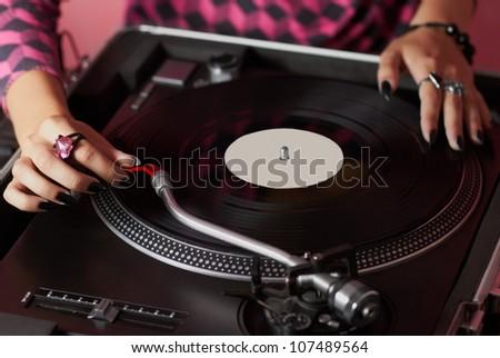 Dj Hands On Equipment Deck Mixer Stock Photo 158323577 ...