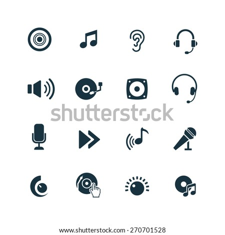 dj icons set on white background