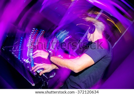 DJ in action - Party - Fest - stock photo