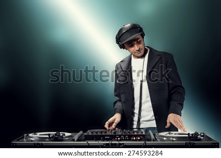 DJ is making party - stock photo