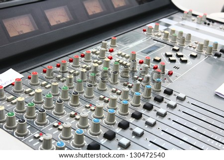 DJ is take control sound on recording or broadcasting programs in the studio/Sound control board