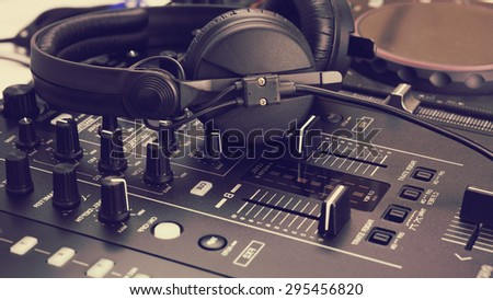 dj mix console and music mixer / controller - stock photo