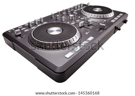 Dj mixer isolated on white background - stock photo