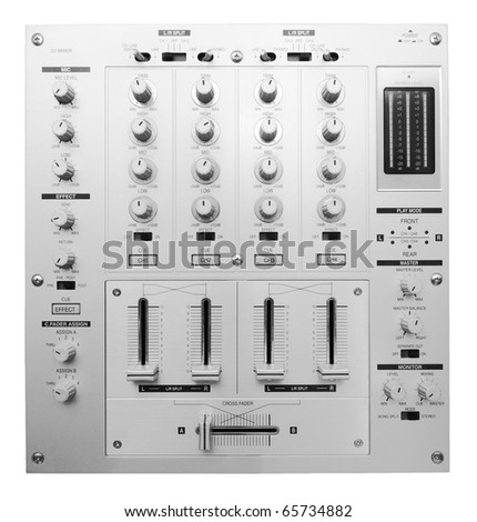DJ mixer shot from above isolated on white background - stock photo