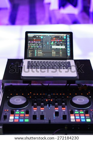 Dj panel with notebook - stock photo