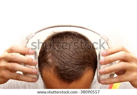 Dj puts his headphones on - stock photo