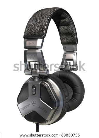 DJ's headphones isolated on white. My own design made for the image. Logo is a fake. - stock photo