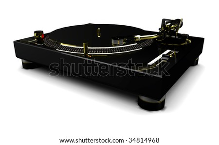 DJ Turntable (black and gold) on a white background - stock photo