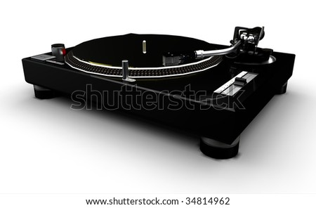 DJ Turntable (black and silver) on a white background - stock photo