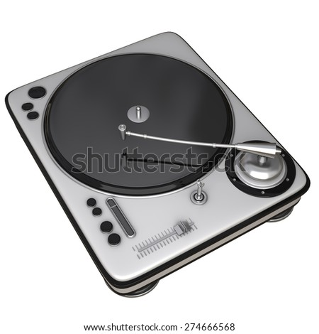 DJ Turntable isolated on white background. High resolution 3d - stock photo