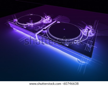 DJ Turntables Neon Sketch - stock photo