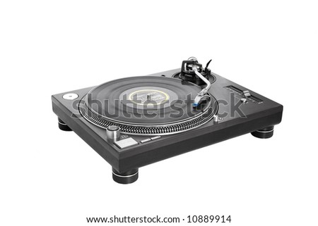 DJ Vinyl Player isolated on white - stock photo