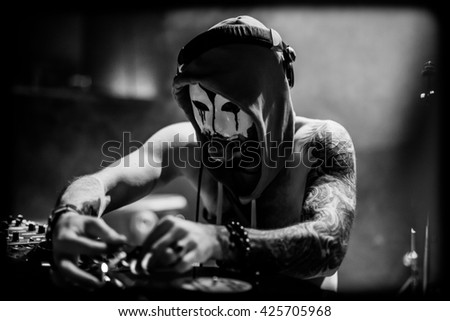 DJ with a gag - stock photo