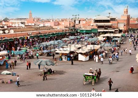 Djemaa el Fna - square and market place in Marrakesh's medina quarter, Marrakesh, Morocco. - stock photo