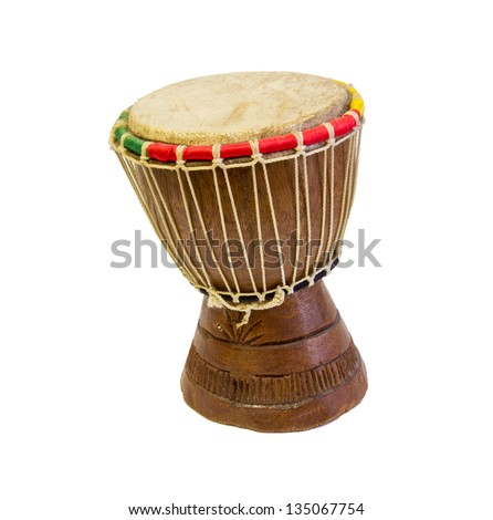 djembe. African percussion. Handmade wooden drum with goat - stock photo