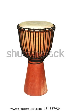 djembe, african percussion, handmade wooden drum with goat skin, ethnic musical instrument  isolated on white - stock photo