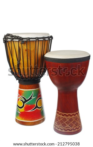 Djembe african traditional percussion. Isolated on white - stock photo