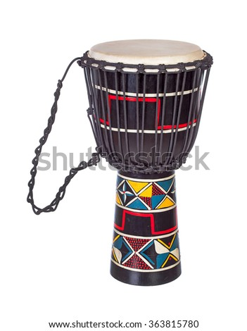 Djembe drum isolated over white - stock photo
