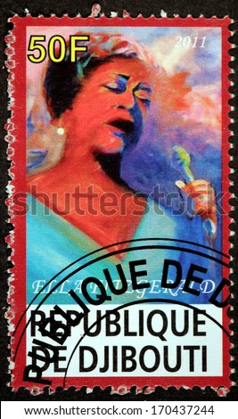 DJIBOUTI - CIRCA 2011: A postage stamp printed by DJIBOUTI shows image portrait of  famous American jazz vocalist with a vocal range spanning three octaves Ella Fitzgerald, circa 2011. - stock photo
