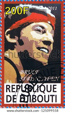 DJIBOUTI - CIRCA 2011: A postage stamp printed in the Republic of Djibouti showing Bruce Frederick Joseph Springsteen, circa 2011 - stock photo