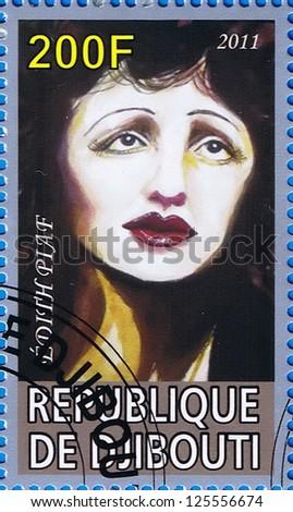 DJIBOUTI - CIRCA 2011: A postage stamp printed in the Republic of Djibouti showing Edith Piaf, circa 2011 - stock photo