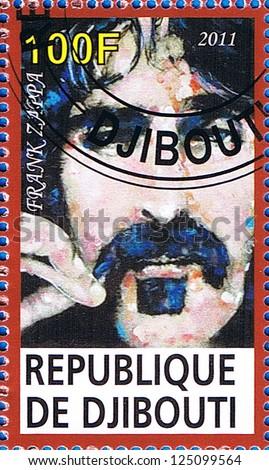 DJIBOUTI - CIRCA 2011: A postage stamp printed in the Republic of Djibouti showing Frank Zappa, circa 2011 - stock photo