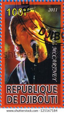DJIBOUTI - CIRCA 2011: A postage stamp printed in the Republic of Djibouti showing Sir James Paul McCartney, circa 2011 - stock photo