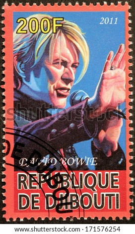 DJIBOUTI - CIRCA 2011: A stamp printed by DJIBOUTI shows image portrait of English musician, singer, songwriter, record producer, actor and arranger David Bowie, circa 2011 - stock photo