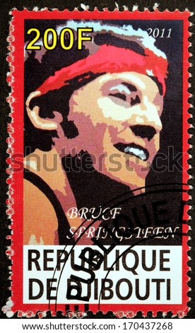 DJIBOUTI - CIRCA 2011: A stamp printed by DJIBOUTI shows image portrait of famous American musician, singer and songwriter Bruce Frederick Joseph Springsteen, circa 2011 - stock photo