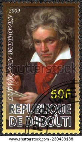 DJIBOUTI - CIRCA 2009: A stamp printed in Republic of Djibouti shows Ludwig van Beethoven (1770-1827), composer, circa 2009 - stock photo