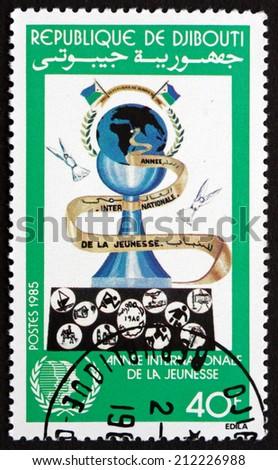 DJIBOUTI - CIRCA 1985: a stamp printed in the Djibouti shows Chess Pawn, International Youth Year, circa 1985 - stock photo