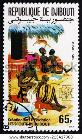 DJIBOUTI - CIRCA 1985: a stamp printed in the Djibouti shows Hygiene, Family Health Care, circa 1985 - stock photo
