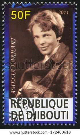 DJIBOUTI - CIRCA 2011: stamp printed by Djibouti, shows Amelia Earhart, circa 2011 - stock photo