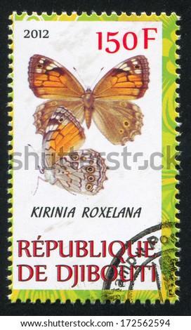 DJIBOUTI - CIRCA 2012: stamp printed by Djibouti, shows butterfly, circa 2012 - stock photo
