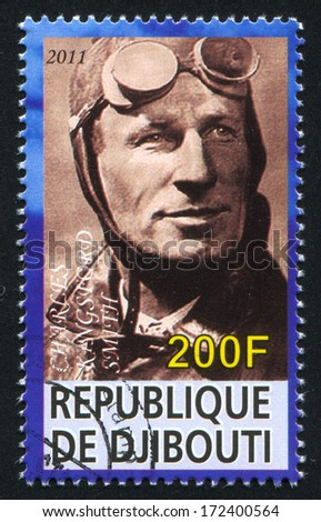 DJIBOUTI - CIRCA 2011: stamp printed by Djibouti, shows Charles Kingsford Smith, circa 2011 - stock photo