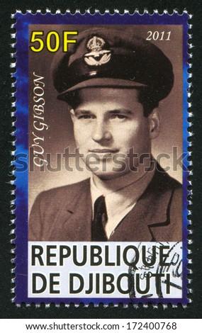 DJIBOUTI - CIRCA 2011: stamp printed by Djibouti, shows Guy Gibson, circa 2011 - stock photo