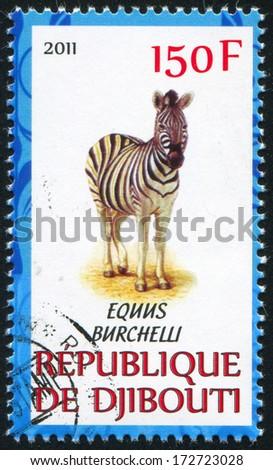 DJIBOUTI - CIRCA 2011: stamp printed by Djibouti, shows Quagga, circa 2011 - stock photo
