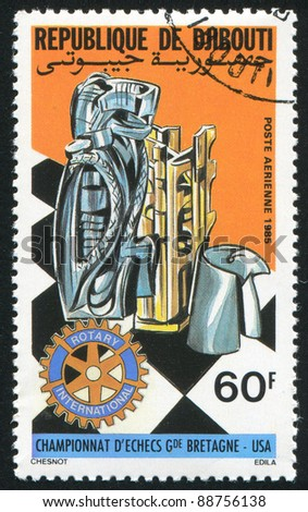 DJIBOUTI CIRCA 1985: stamp printed by Djibouti, shows Rotary, chess board, pieces, circa 1985