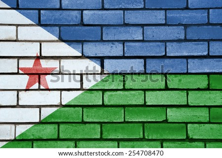 Djibouti flag painted on old brick wall texture background - stock photo