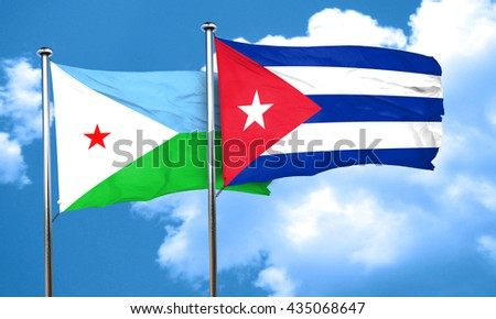 Djibouti flag with cuba flag, 3D rendering