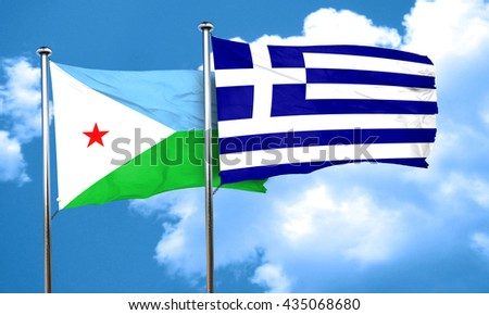 Djibouti flag with Greece flag, 3D rendering
