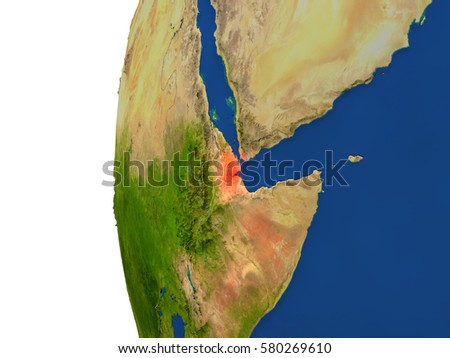 Djibouti on planet Earth. 3D illustration with detailed realistic planet surface. Elements of this image furnished by NASA.