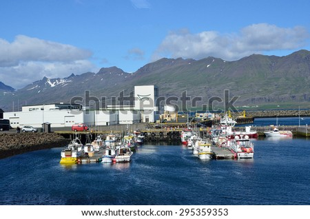 Djupivogur, Iceland,  August, 17, 2014. Nobody, port in the town Djupivogur