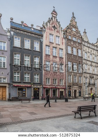 Dlugi Targ street, Main City, Gdansk, Poland-October 15, 2016: Most attractive & pedestrianized street, lined with old, picturesque, colorful & rebuilt houses, once residences of wealthy citizens